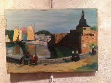 ancienne peinture huile sur toile ville de concarneau bretagne signe louis
