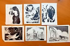 6 Original Vintage Illustrations from Unpublished Book by American Artist -1950s