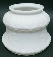 Vintage Lamp Shade Embossed Flowers Oil Satin Opaque White Milk Glass Globe