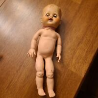 "Vintage  Horsman Doll w/ Rubber Body Close Eyes 12"" Creepy Baby attic find"
