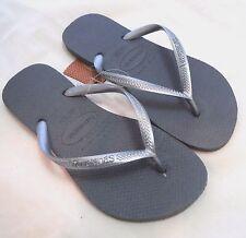 Women's Brazilian HAVAIANAS Authentic US 4/5 Solid Gray/Silver Flip Flops Thongs