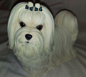 "Danbury Mint Sculpture of a Maltese Dog ""MUFFIN"""