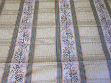 "Wesley Mancini Cotton Fabric Floral Stripe 55"" X 2.5 YD VTG 1991 Greeff Carter"