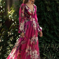 Women Fashion Bohemian Floral Printed V Neck Long Sleeve Pleated  Chiffon Dress