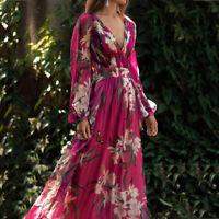 Women Fashion Bohemian Floral Printed V Neck Long Sleeve Pleated  Chiffon Dress