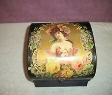 Antique Celluloid Dome Top Collar Box Victorian Lady with Roses