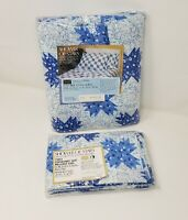 Vintage Sheet Combo Sears Percale Full Fitted & Two Pillowcases NIP Blue White