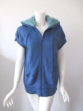 Marc by Marc Jacobs Blue Fur Short Sleeve Thin Cotton Full Zip Hoodie Jacket S