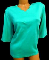 Blair green women's plus size scalloped v-neck elbow sleeve top XLG