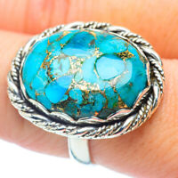 Large Blue Copper Turquoise 925 Sterling Silver Ring Size 8.5 Jewelry R35644F
