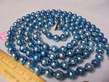 "Christmas Garland Mercury Glass Blue 66"" Long 1/2"" Beads #781 Vintage"