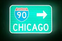 CHICAGO Interstate 90 route road sign - Illinois, CUBS, Bulls, Bears