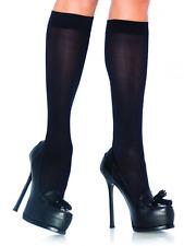 Leg Avenue Black Opaque Nylon Schoolgirl Knee High Socks -Black