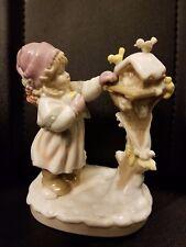 "Lisi Martin Dolfi Porcelain girl feeding birds figurine Hand painted 6 3/4"" h"