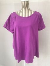 St John's Bay WOMENS PURPLE TOP SHIRT SHORT SLEEVE PLUS SIZE 1X
