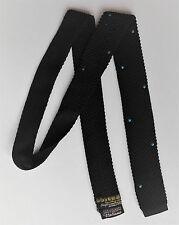 Vintage 1950s Square End tie Italiana Polka Dots knitted black Terylene BRICKS