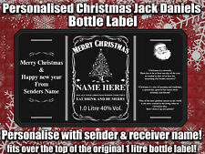 Personalised Christmas Jack Daniels Bottle Label xmas gift present 1L Whiskey