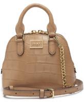 $148 New DKNY Women's Croc Embossed Leather Steffy Mini Dome Satchel Bag Sand