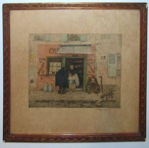 """T.F. Simon 1911 Color Etching Paris """"CRÉMERIE À DEUX SOUS"""" Listed Czech Artist"""