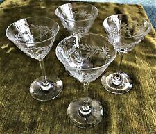 Leaded Etched Liqueur Cordial Stemmed Crystal Glasses