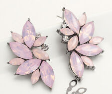 1 Pair Fashion Jewelry Pink Crystal Rhinestone Ear Drop Dangle Stud Earrings 65