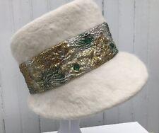 Vtg Ladies 1950s White Fur Cloche Hat Green Sparkle Brim Italy Corona Ferncroft
