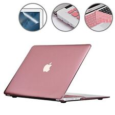 """Macbook Air Case 13"""", Keyboard Cover + Screen Protector + Dust Plug - Rose Gold"""