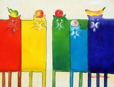 Arte Pop-Gracioso Gatos quinteto pintura al óleo 30x40 Cm
