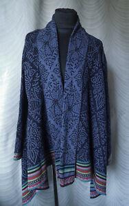 Gudrun Sjoden Blue Floral Silk  Wool Waterfall Cardigan  Jacket Size  S/M
