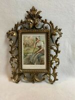 Vintage Ornate Brass/Gold Picture Frame with Glass Insert (4 x 6 Picture)