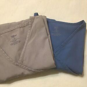 2 Tafford Scrub Tops  Medical Uniform  Solid  Blue & Tan Sz Sm