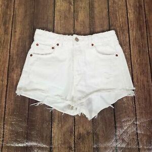 "Zara Cutoff Denim Shorts Womens Size 2 White Distressed High Rise 26"" Waist"