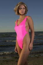 One Piece Tank Thong Swimsuit - Baby Pink Large