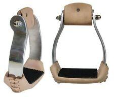 "Showman Large Aluminum Sure Grip Stirrups. 3 1/4"" neck, 5"" Wide and 3"" Tread"