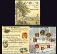 TURCHIA TURKEY 2004 EURO PATTERN PROTOTYPE 8 COINS COLLECTION FDC UNC RARA