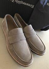 New $595 Ermenegildo Zegna Suede Loafers Shoes MD Beige 10.5 US ( 43.5 Eu )Italy