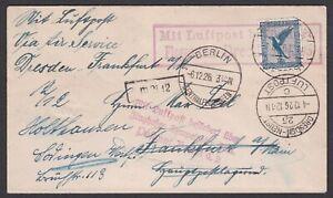 Germany. 1926 Luftpost / Flight cover. Dresden to Frankfurt?