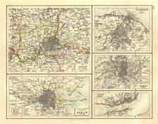 EUROPEAN CITIES. London Edinburgh Madrid Lisbon Dublin.  JOHNSTON 1906 old map