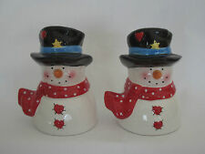 Snowmen Salt and Pepper Shakers With Polka Dot Scarves & Top Hat Nice set