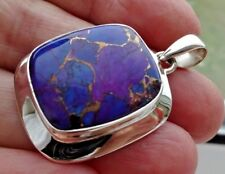 Superb Chunky Sterling Silver & Purple Copper Filled Turquoise Pendant 10.1g