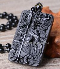 Natural Black Obsidian Carved Chinese GuanGong Lucky Pendant + Beads Necklace