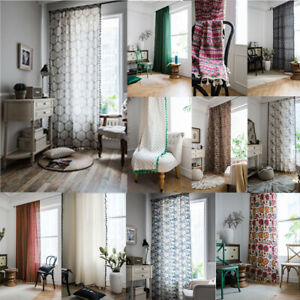 Ethnic Cotton Linen Tassel Curtains Living Room Blackout Bedroom Window Drapes