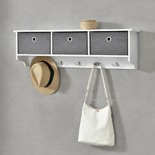 [en.casa] Wandgarderobe mit Aufbewahrungsboxen Garderobenhaken Faltbox Weiß/Grau