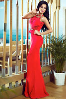 Red Lace Embellished Mermaid Party Cocktail Prom Evening Dress size UK 12