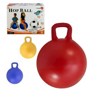 HOP BALL BOUNCE GRIP HANDLE ASSORTED COLOURS BOUNCY BALLS KIDS TOYS GAME 45cm
