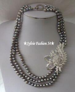 😍 Unique collier plaqué argent 3 rangs perles grise feuille branche brillant zc