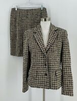 Talbots Womens Skirt Suit Size 10 12 Black White Tweed Pencil Career Jacket C3