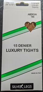 Silver Legs 15 Denier Tights (One Size & XL) 10 Colours (Made It Italy)