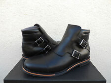 TSUBO KRISTOFER BLACK LEATHER BUCKLE ANKLE BOOTS, MENS US 9.5/ EUR 42.5 ~NIB