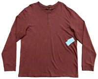 Vince Mens Size XL Long Sleeve Henley T-Shirt Button Burgundy NWT